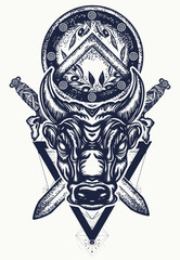 Bull tattoo and t-shirt design. Ancient Rome and ancient Greece concept war t-shirt design. Minotaur, crossed swords and spartan shield. Symbol of bravery, fight, hero, army. Bull tattoo art