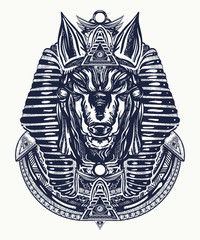 Anubis tattoo and t-shirt design. Anubis, god of war, Golden Mask of the Pharaoh, symbol of next world, kingdom of dead tattoo art