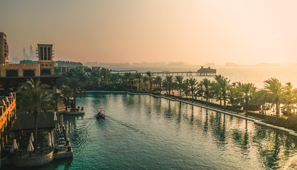 Souk Madinat Jumeirah in Dubai in the morning. Dubai. Sammer 2016.