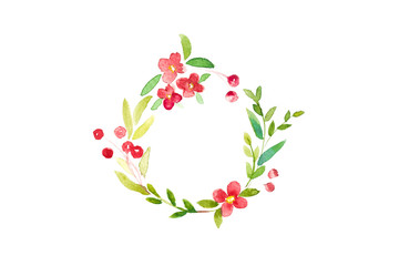Watercolor Christmas frame of green leaves and red floral wreath in circle on white background