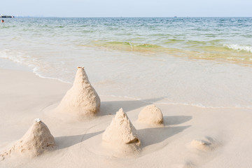 Sand castle on the beach.Thailand.