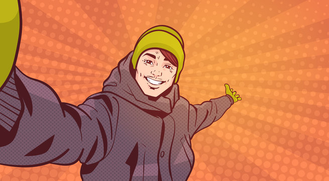 Young Man In Winter Clothes Take Selfie Photo Pointing hand To Copy Space Over Colorful Retro Style Background Vector Illustration