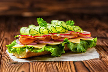 beautiful sandwich with ham, cheese, bacon, radish, lettuce, cucumbers and onions on dark wooden background, close up