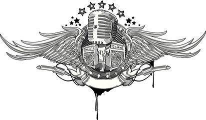 Retro microphone and amplifiers winged emblem