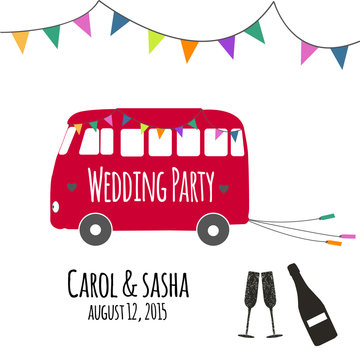 Vector red vintage wedding bus with champagne bottle and glass silhouette