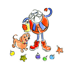New Year's, Christmas, festive poster. Cheerful, happy, athletic, Santa Claus. Frosty, winter, cold Santa Claus. Earthy, yellow, active dachshund dog. Night salute, garland. Watercolor. Illustration