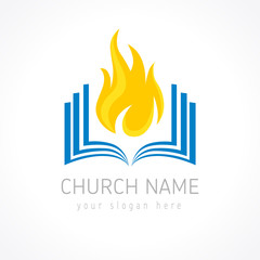 Educational vector logotype. Fiery flaming book logo. Open pages with flames. Learning, teaching or religious pentecost branding identity. Knowledge is power, IQ template. E-book, e-reader i.q. idea.
