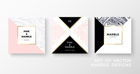 Set of trendy geometric card or flyer designs wiht contrast shapes, marble textures, gold frames and space for text. Vector illustration.