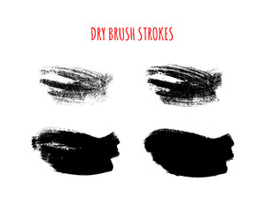 Set of vector isolated hand drawn dry brush textured strokes.