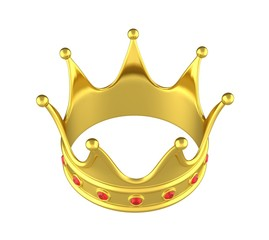 Golden crown on a white background. 3D rendering.