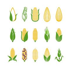 Fototapeta Organic corn vector icons isolated on white background obraz