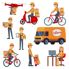 Cute cartoon courier vector characters with delivery box. Delivery by drone, scooter, bicycle