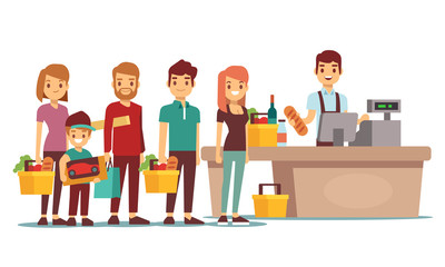 Customers people queue at cash desk with cashier in supermarket. Shopping vector concept