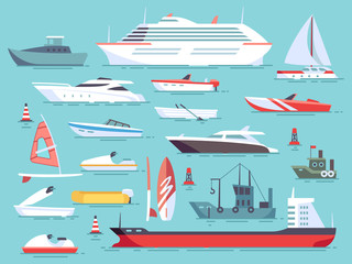 Big set of sea boats and little fishing ships. Sailboats flat vector icons