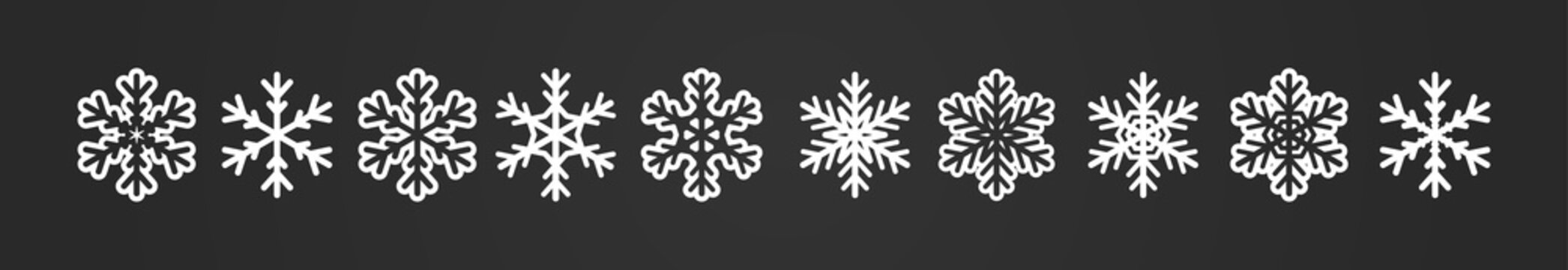 Big winter banner with snowflakes row. Geometric icons collection
