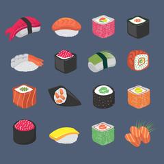 Cartoon sushi rolls japanese cuisine seafood vector set