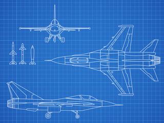 Military jet aircraft drawing vector blueprint design