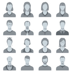 Female and male head vector silhouettes. User profile avatars