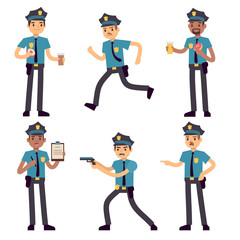 Officer policeman vector cartoon characters isolated. Patrol cops for police concept