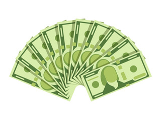 Dollar banknotes fan. Green currency cash notes. Investment vector concept
