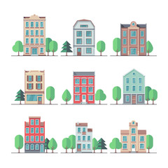 Retro city houses. Vintage apartment buildings vector set