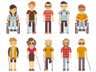 Disabled people vector set. old and young invalid persons isolated on white background