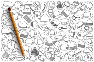 Hand drawn hats vector doodle set background