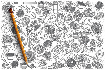 Hand drawn Korean food vector doodle set background