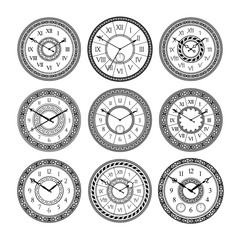Vector set of vintage clocks. Monochrome pictures isolate. Symbols of time