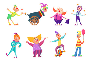 Circus characters. Funny clowns in action poses