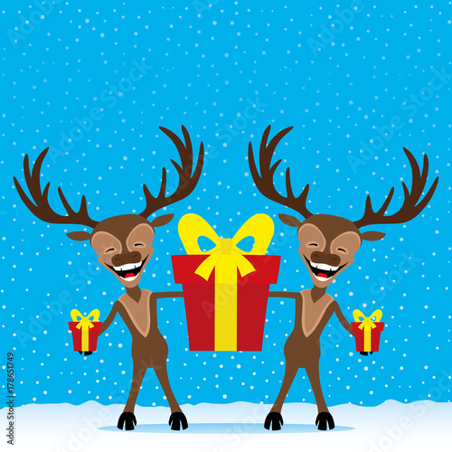 Reindeer with gift boxes.