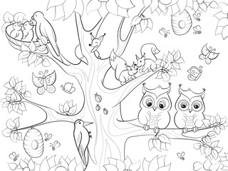 Animals and birds living on the tree coloring for children cartoon raster illustration