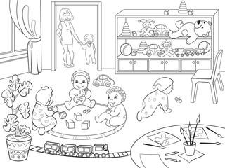 Kindergarten coloring book for children cartoon raster illustration