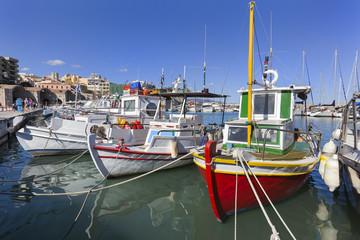 Traditional fishing boats in Heraklion harbor