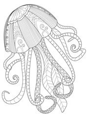 Jellyfish coloring raster for adults