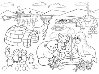 Kids Coloring North Pole raster illustration