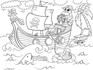 children coloring on the theme of pirates raster