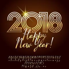 Vector luxury Greeting Card Happy New Year 2018. Chic royal set of Alphabet letters, Numbers and Symbols. Golden Font contains Graphic style