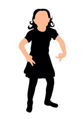 silhouette little girl dancing