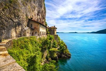 Hermitage or Eremo of Santa Caterina del Sasso monastery. Maggiore lake, Lombardy Italy
