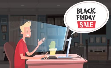 Black Friday Sale Chat Bubble Over Man Sitting At Computer Desktop Holiday Discounts Banner Design Vector Illustration