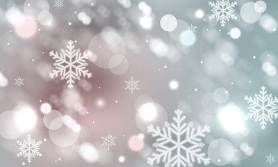 Abstract winter blurred snowflakes vector background.