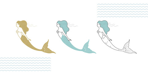 Mermaids in a modern minimalist style, line art illustration.