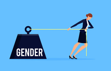 Gender. Business concept of discrimination in a flat style with businesswoman.