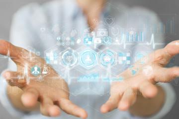 Businesswoman using digital medical interface 3D rendering