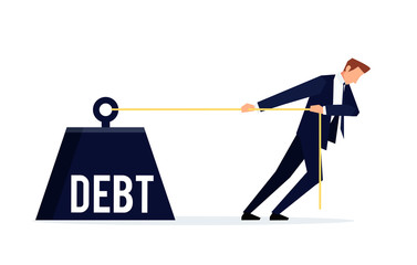 Debtor. Businessman is pulling a huge weight with a debt.