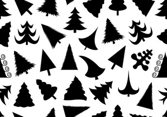 Christmas tree seamless illustration isolated on white