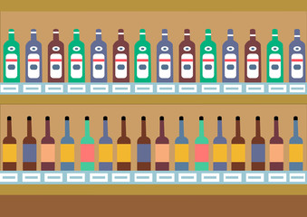 Supermarket shelves with alcohol. Vector background. Vector illustration EPS10