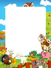 cartoon scene with farm animals - frame for different usage - illustration for children
