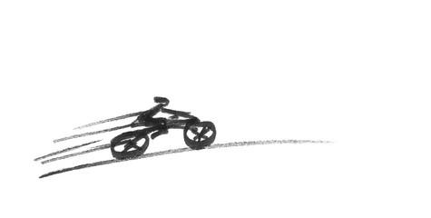 Sketch of fast riding biker